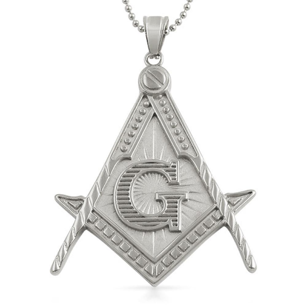 Masonic Pendant Free Mason Large Detailed Stainless Steel