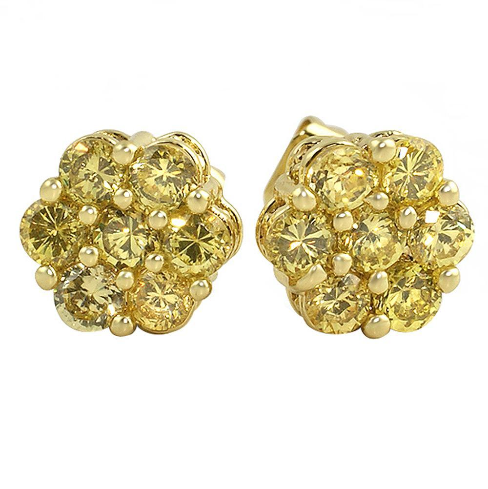 Big Cluster Lemonade CZ Bling Bling Earrings