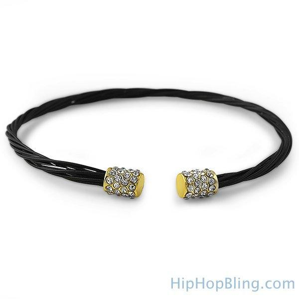 Gold Iced Out Black Gitar String Style Bracelet