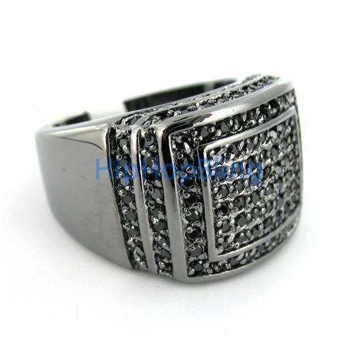 Ballers CZ Iced Out Black on Black Mens Ring