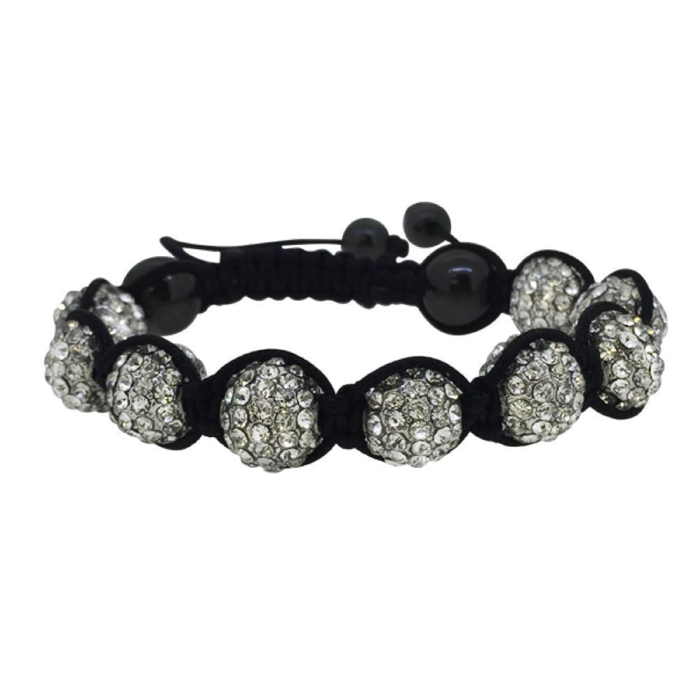 Rhodium Disco Ball Black Rope Bacelet