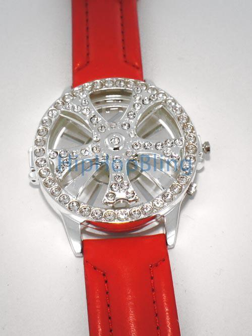 Spinner Rim Iced Out Watch Red Leather Band