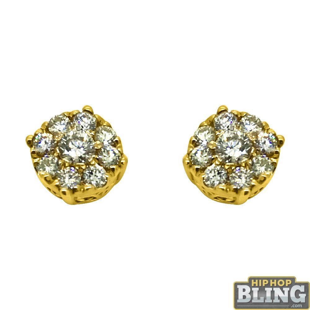 14K Gold .60cttw Diamond Cluster Bling Earrings