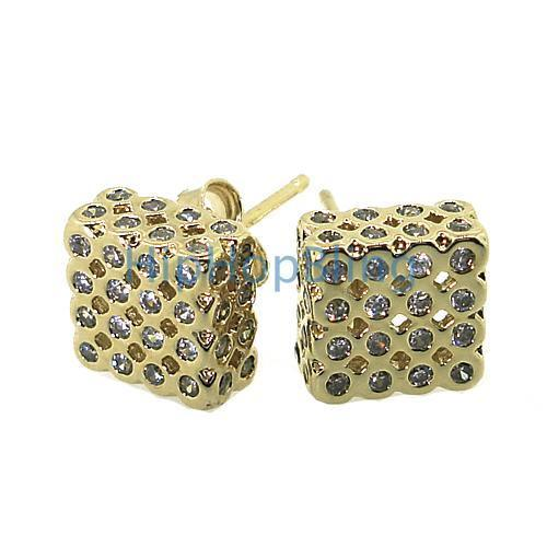 Gold .925 Silver 3D LG Box Bezel CZ Iced Out Earrings