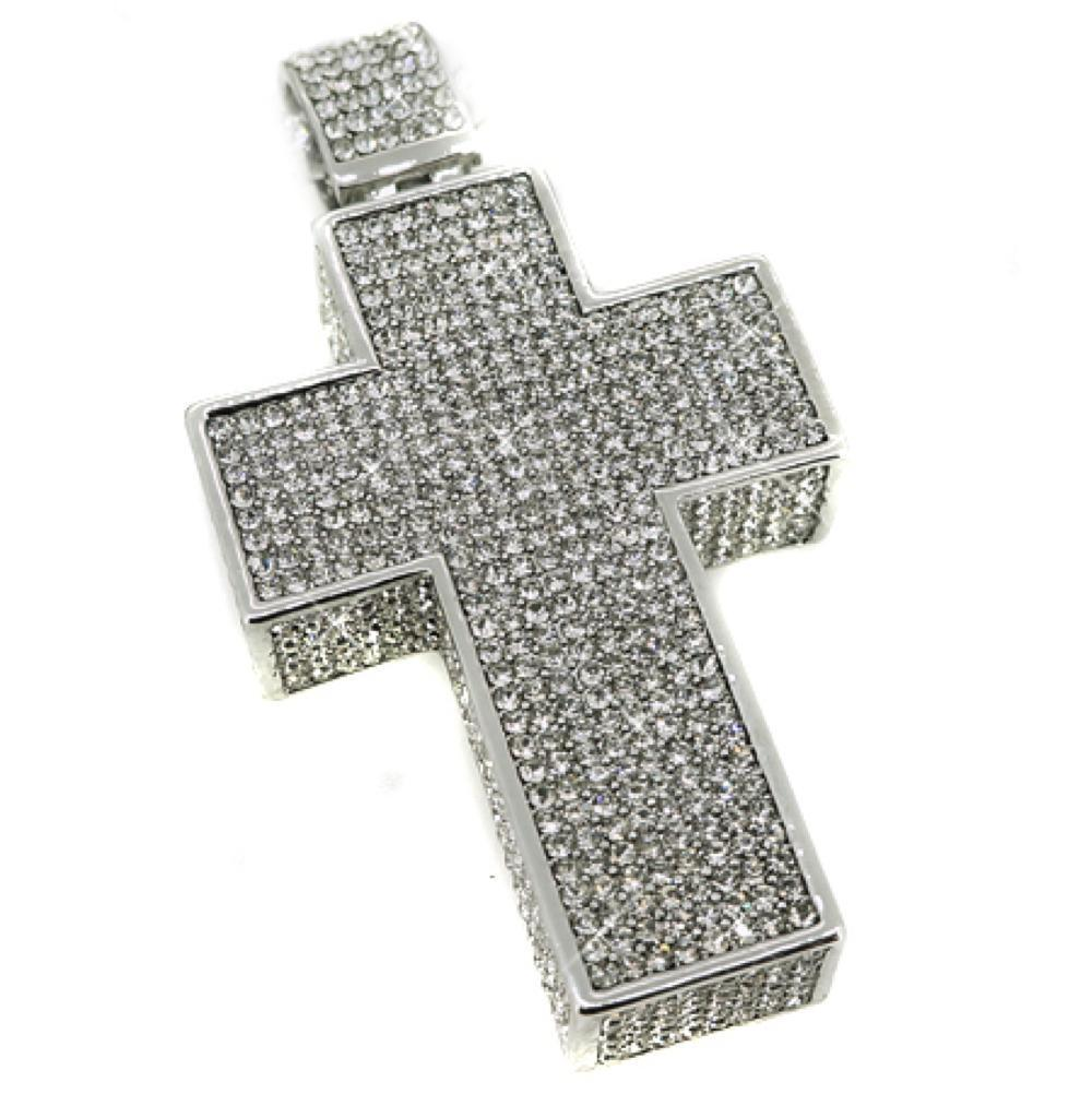 Mega 3D Cross Rhodium