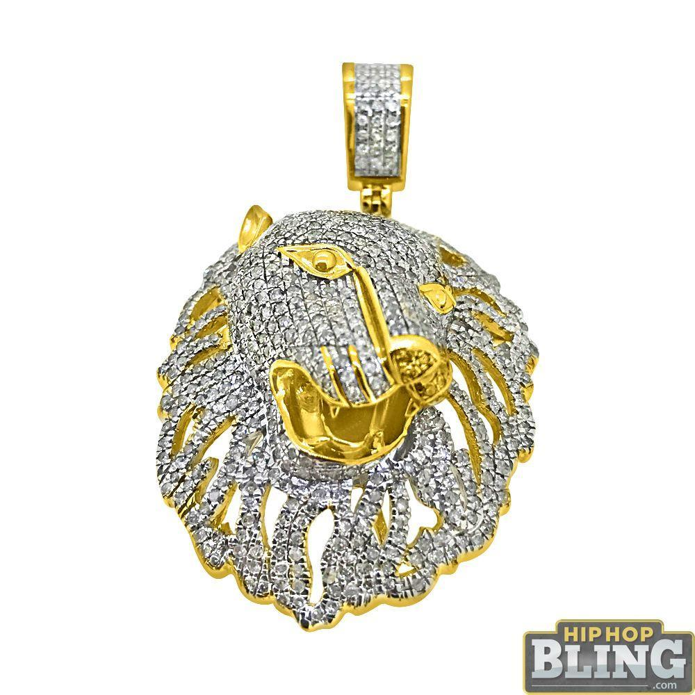 10K Gold 3D Lion Head Pendant 1.40 Carat Diamonds