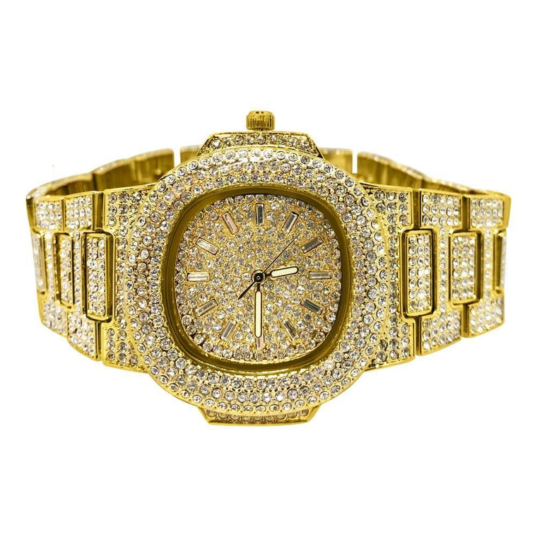 Custom Bling Bling Gold Blizzard Watch
