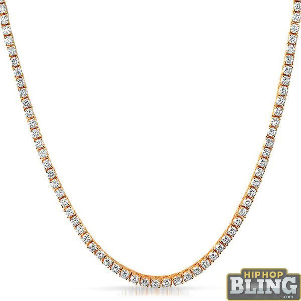 .925 Silver Rose Gold 3MM CZ Tennis Chain