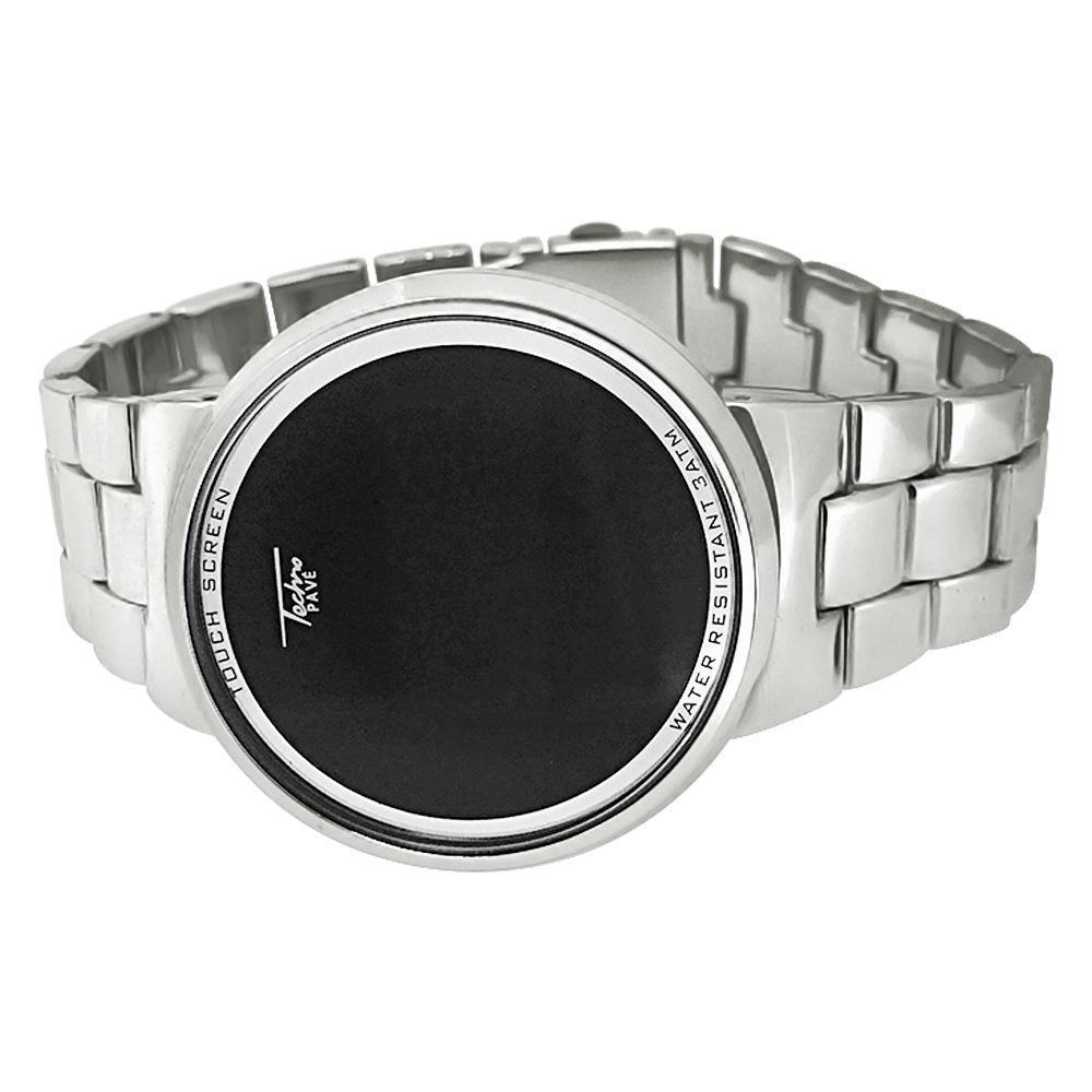 LED Touch Screen Silver Metal Band Watch