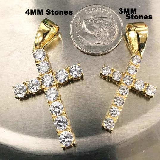 .925 Sterling Silver 3MM CZ Tennis Cross Gold
