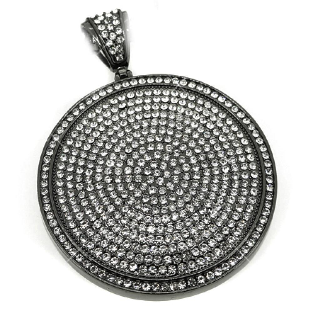 White on Black Circle Pendant
