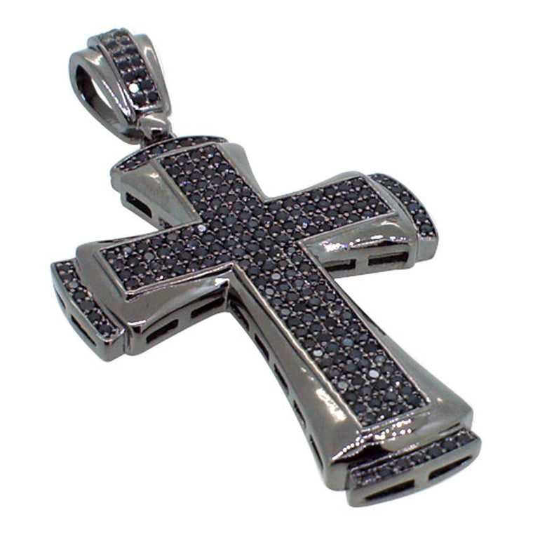 CZ Designer Bling Bling Black Cross Pendant
