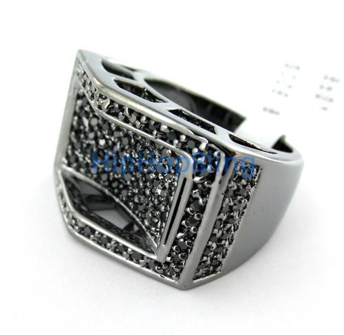 Bridge of Ice CZ Black on Black Mens Ring