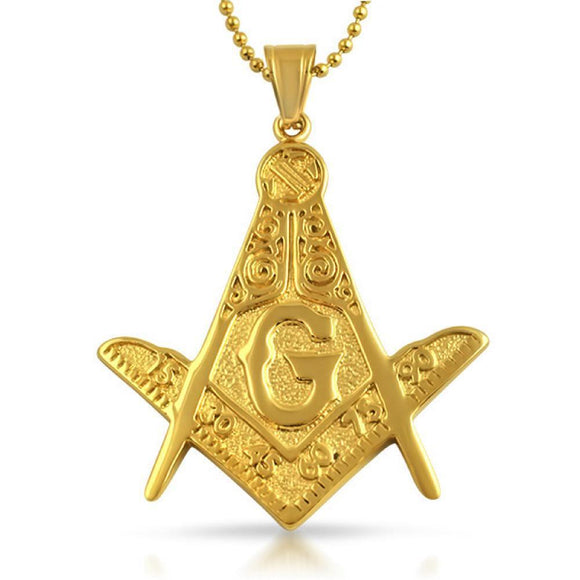 Large Fancy Masonic Free Mason Pendant Gold Steel