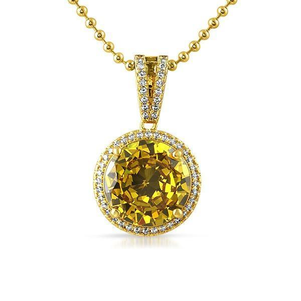 Lab Canary Round .925 Silver Hip Hop Gem Pendant (Free 36 Inch Bead Chain)
