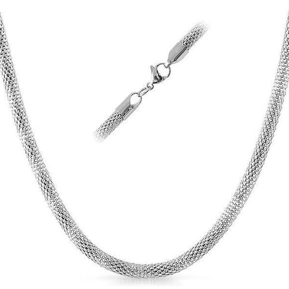 Popcorn Stainless Steel Chain Necklace 4MM