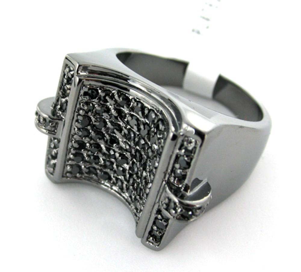 U CZ Mens Black on Black Bling Ring