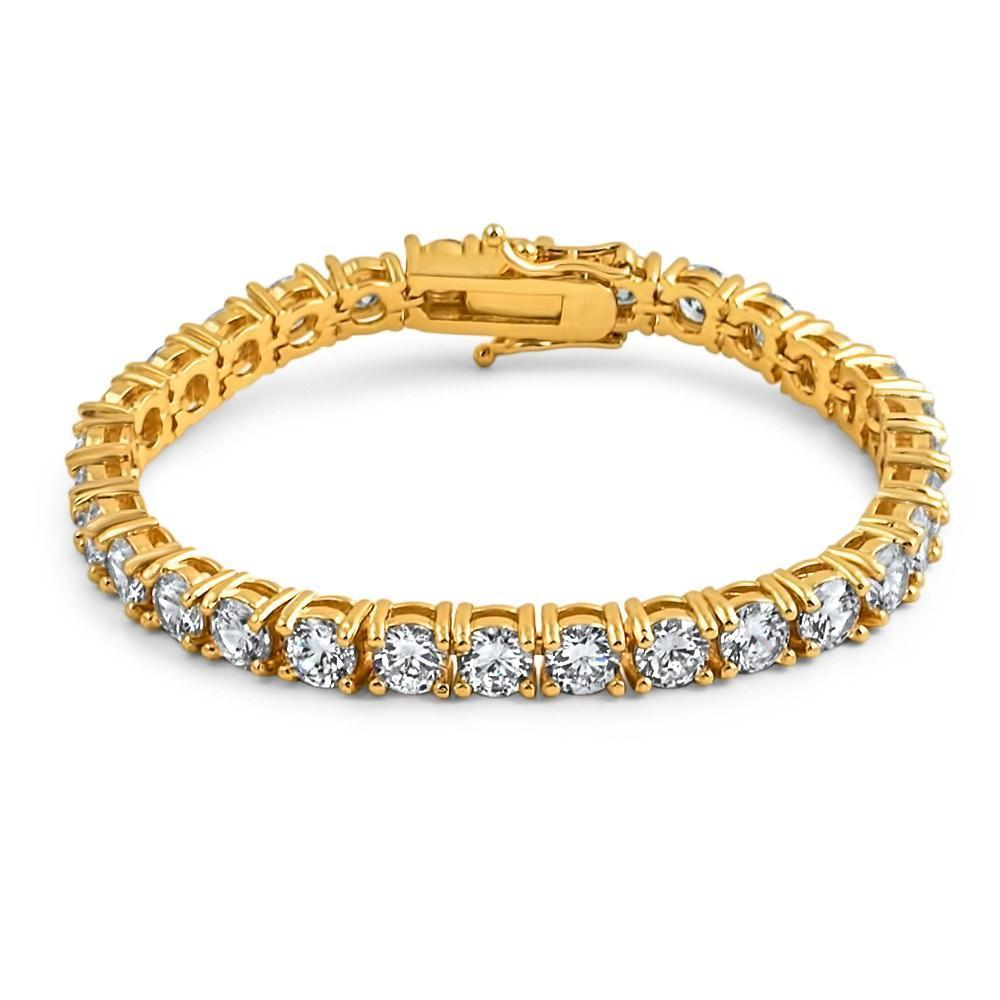 .925 Silver 6MM CZ 1 Row Bling Tennis Bracelet Gold