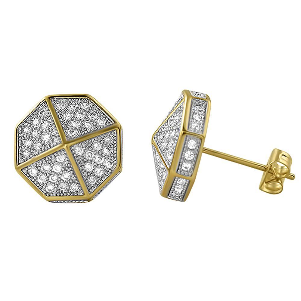 3D Pointed Octagon Gold CZ Hip Hop Earrings