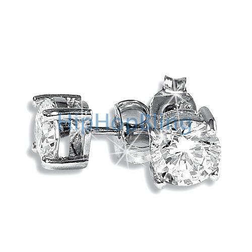 6mm Round CZ Signity Sterling Silver Solitaire Earrings