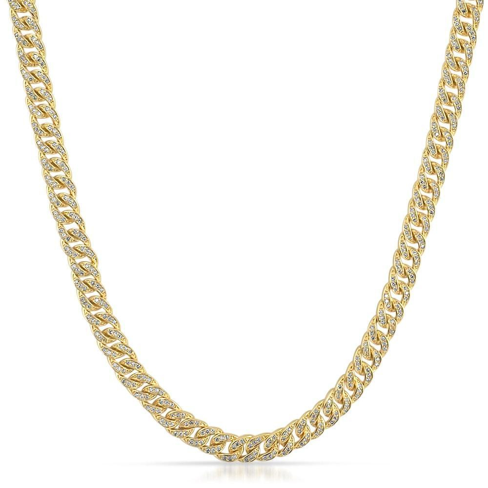 .925 Silver 6MM CZ Bling Bling Gold Cuban Links Chain