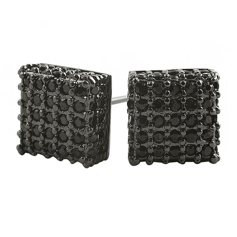 Large 3D Box Black CZ Iced Out Earrings