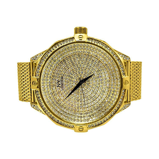 Icey Dial Bling Bling Gold Mesh Band Watch