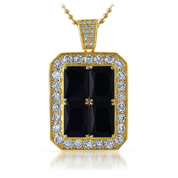 Quad Lab Black Diamond Block Iced out Pendant