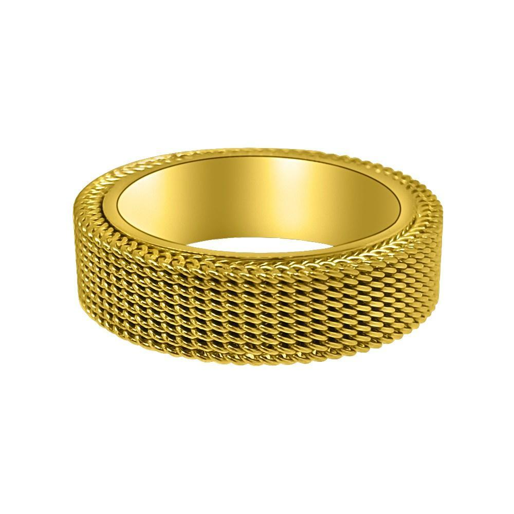 Mesh Band Gold Ring Stainless Steel