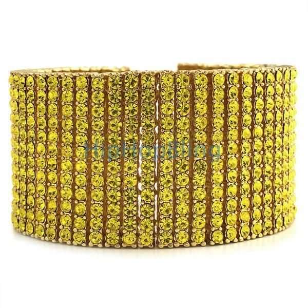 Rick Ross Style All Canary Iced Out 12 Row Gold Bracelet