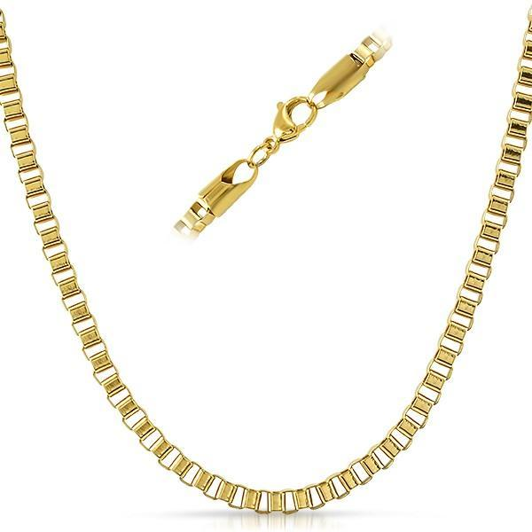 Box IP Gold Stainless Steel Chain Necklace 4MM