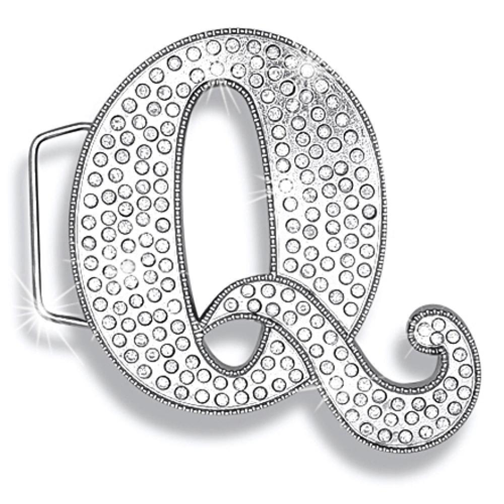 Q Initial Jumbo Belt Buckle Rhodium