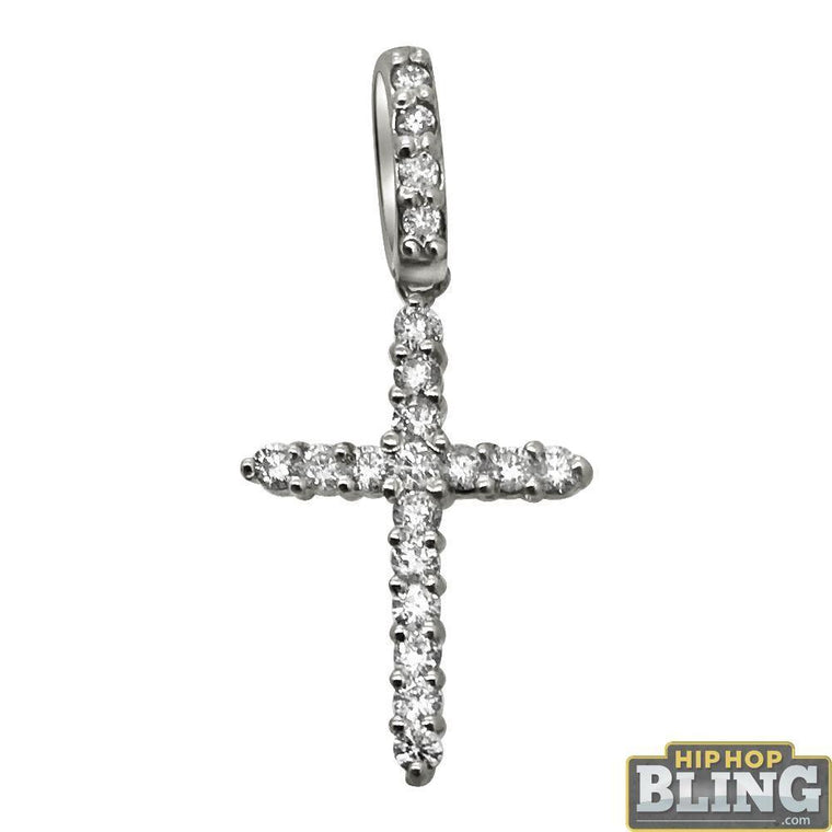 .39cttw Diamond Nano Cross Pendant 14K White Gold