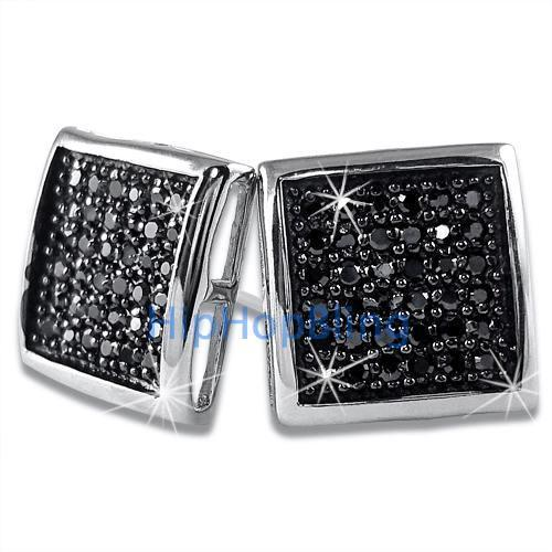 Large Deep Box Black CZ Micropave Earrings .925 Silver
