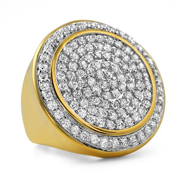 Gold .925 Sterling Silver CZ Bling Ring Mega Ice Circles