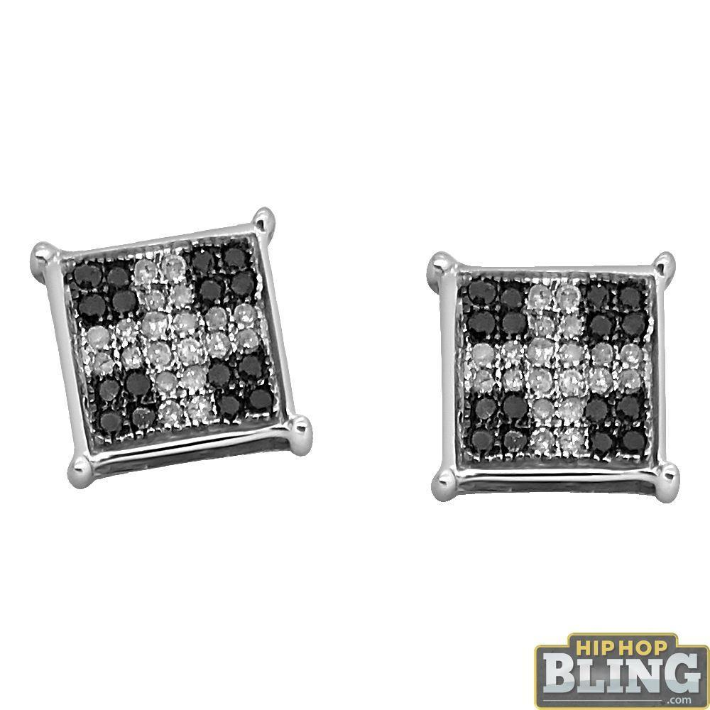 .25 Carat Black White Diamond Cross Box Bling Earrings