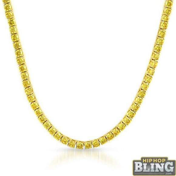 .925 Silver Canary CZ Gold 3MM Tennis Chain Bling Bling
