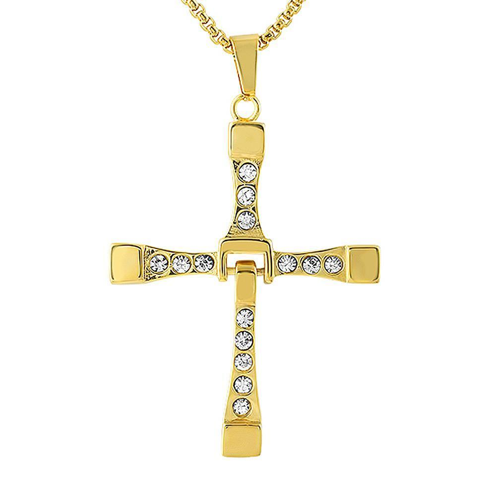 Fast Furious Inspired Gold Stainless Steel Cross