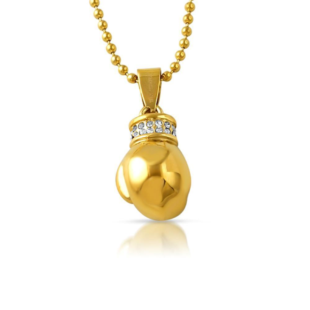 Micro 3D Boxing Glove Gold Steel Pendant