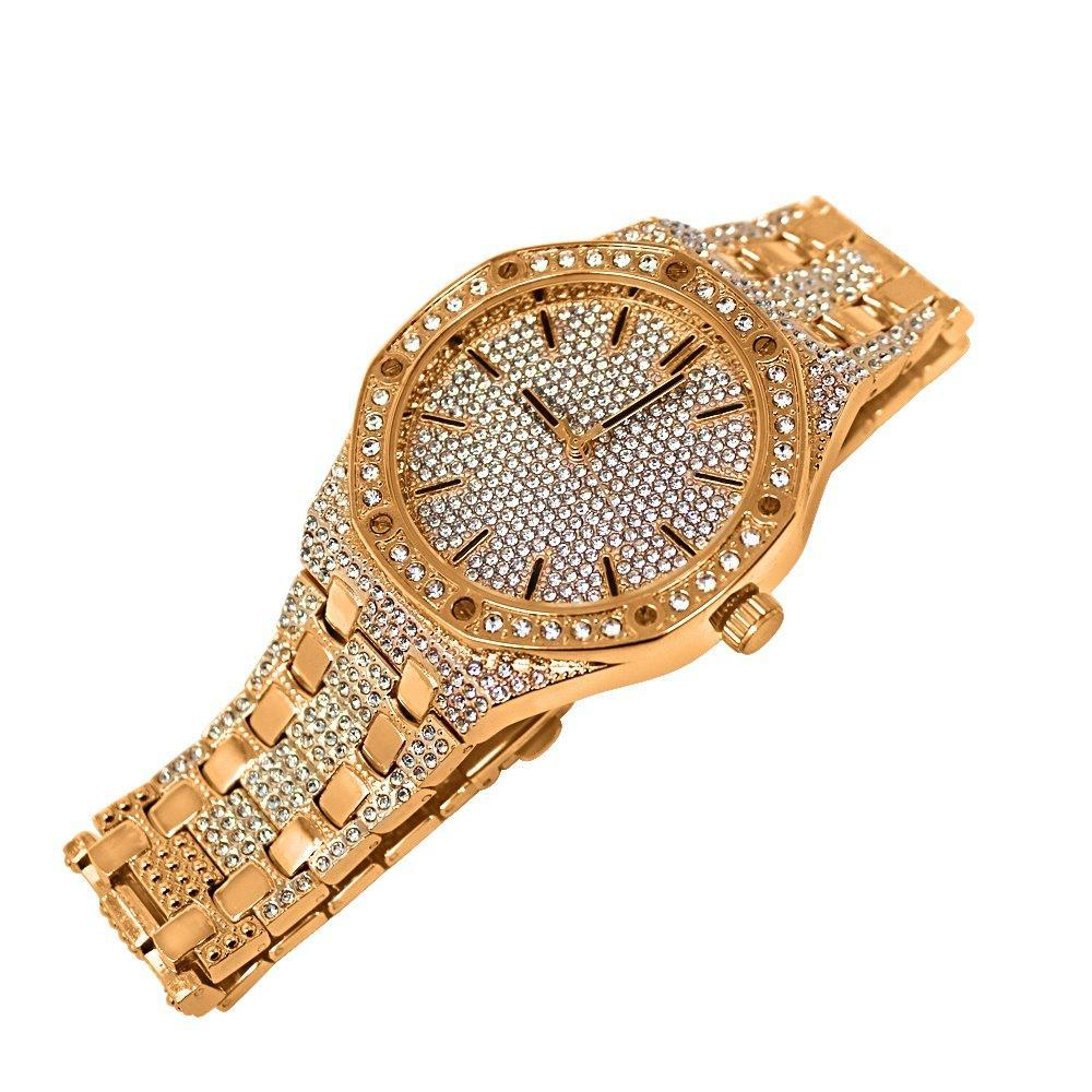 Rose Gold Bling Bling Octagon Watch Icey