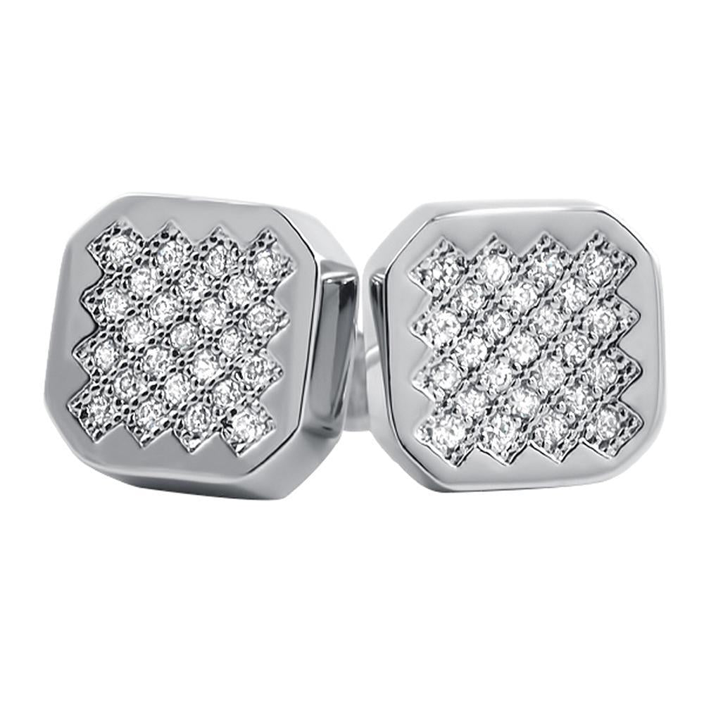 Zig Zag Iced Out CZ Earrings Rhodium