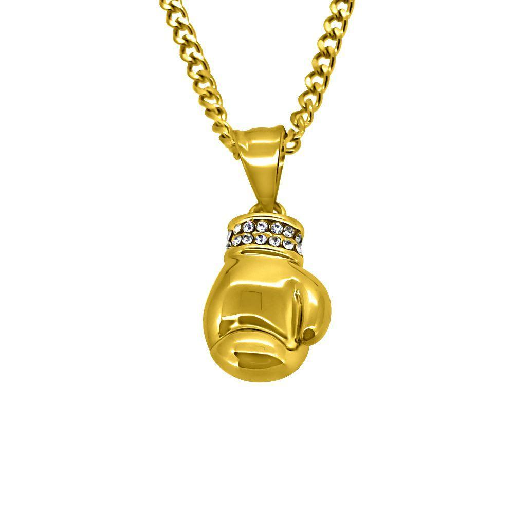 Gold Micro Boxing Glove Hip Hop Pendant