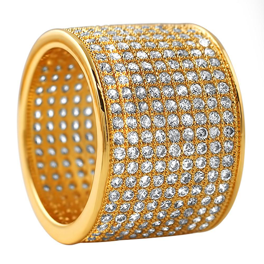 9 Row 360 Eternity Gold Bling Bling Ring