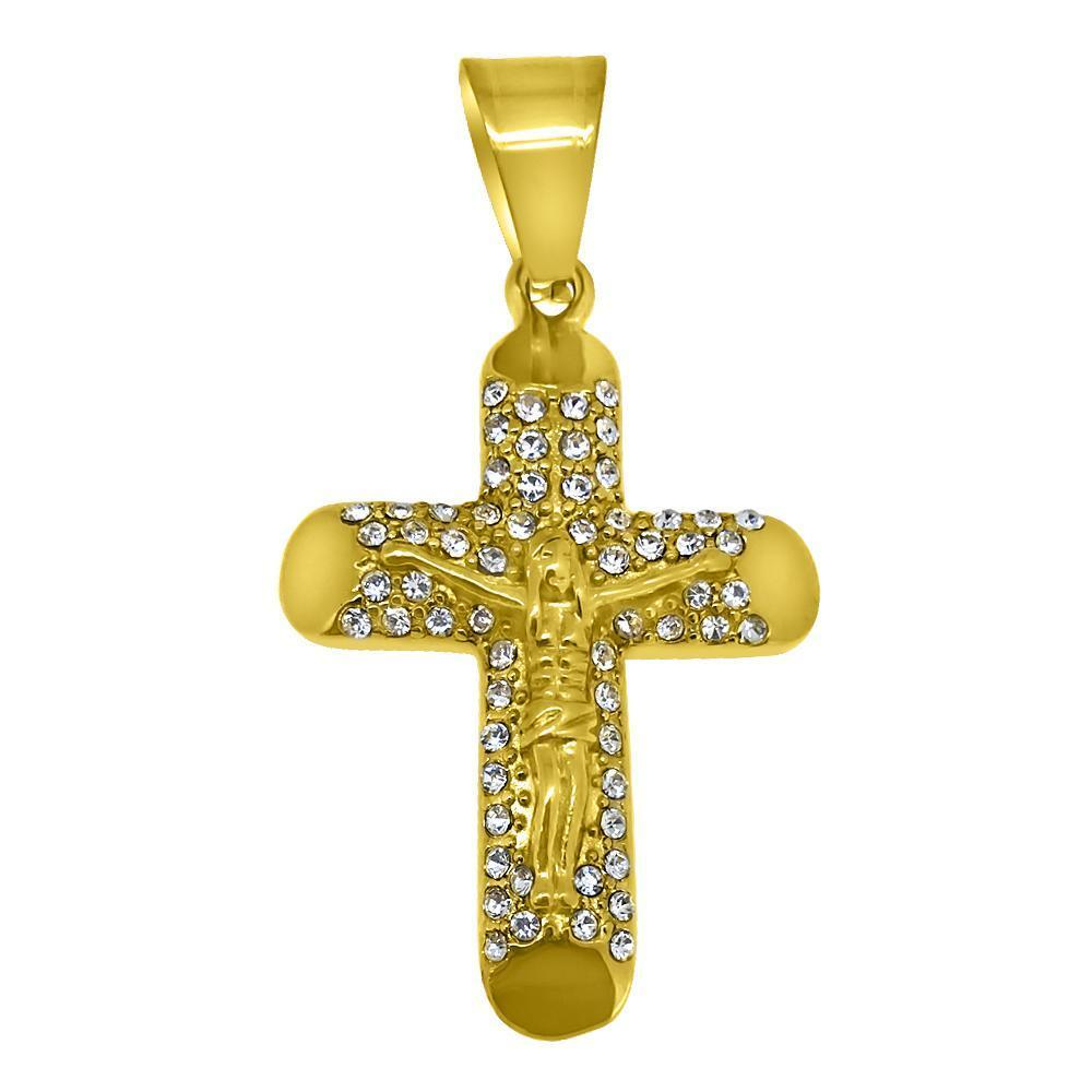 Log Cross Crucifix Gold Stainless Steel Pendant