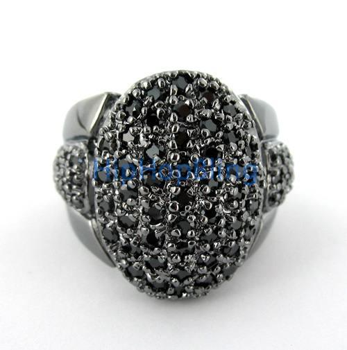 Bling Ball Mens CZ Black on Black Iced Out Ring