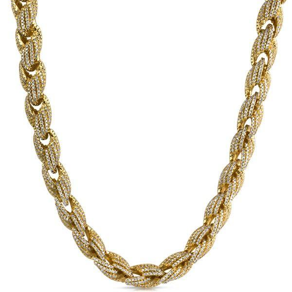 .925 Silver 10MM Rope CZ Gold Bling Bling Chain