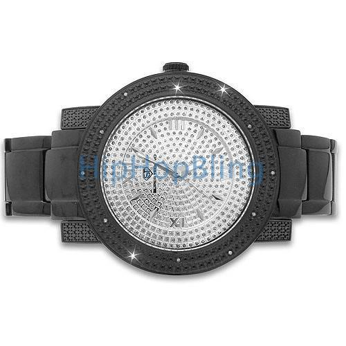 Black Super Techno Diamond Watch Silver Dial Shiny Band