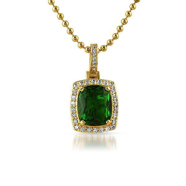 Rick Ross Style Green Gem Pendant .925 Silver