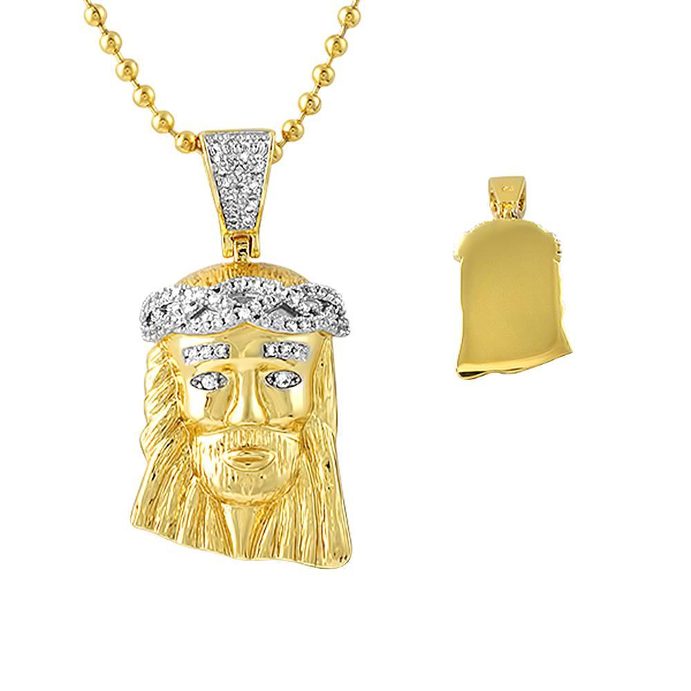 Detailed Gold Micro Jesus Pendant CZ Crown