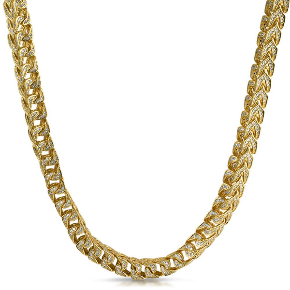 Franco CZ 8MM Wide Gold Bling Bling Chain